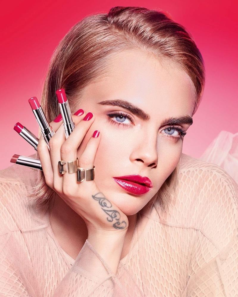 Dior Addict Stellar Halo Shine Lipstick Campaign featuring Cara Delevingne