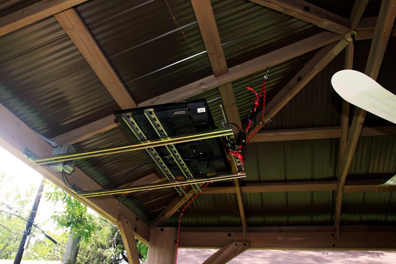 The Orange Door Diy Retractable System For A Tv In A Gazebo