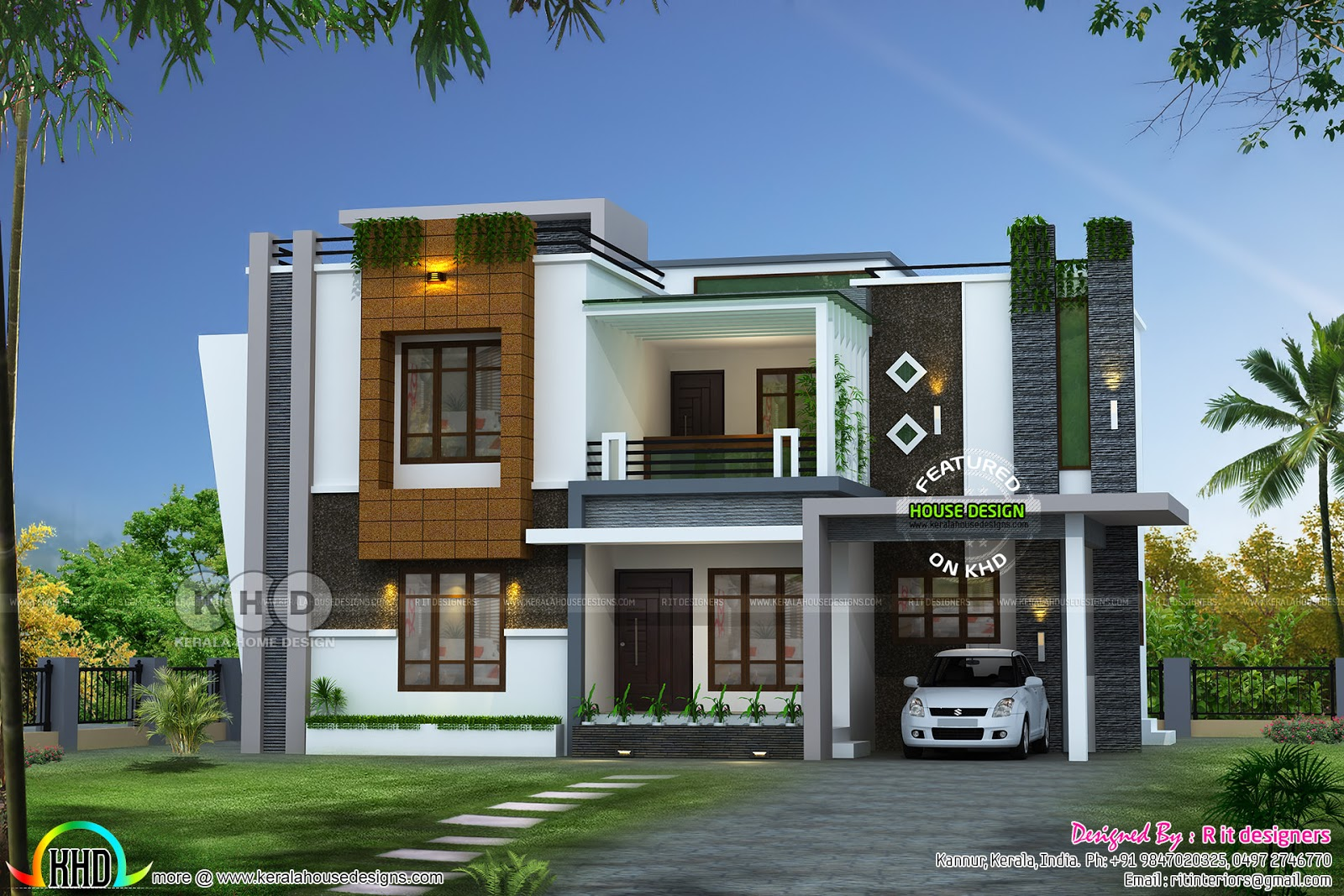 2352 sq ft awesome contemporary kerala home design for Modern house in kerala