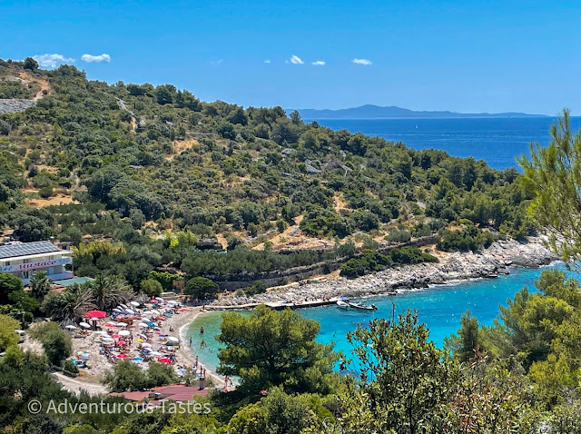 View of a crowded pebbly beach in Croatia
