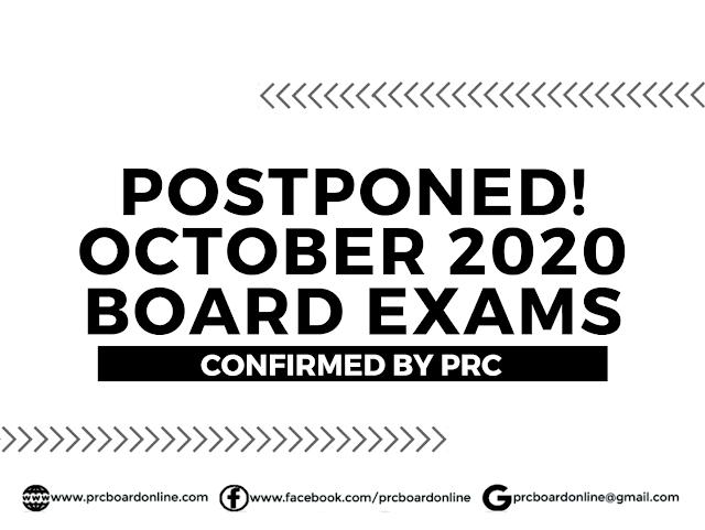 Postponed! October 2020 PRC Board Exams