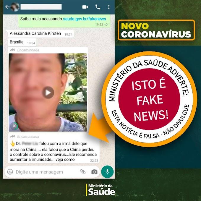 CORONAVÍRUS: Ministério da Saúde alerta sobre divulgação de Fake News