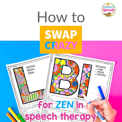 Zen coloring articulation activities for r, l, s and th sounds in mixed group speech therapy sessions that are calm and engaged. Elementary and middle school kids love coloring the beautiful patterns on these printables, and they are no-prep for you! #speechsprouts #speechtherapy #articulation #noprep