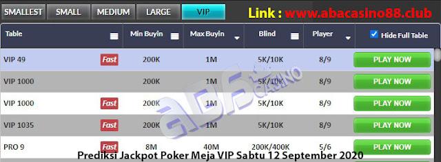 prediksi jackpot poker meja vip sabtu 12 september 2020