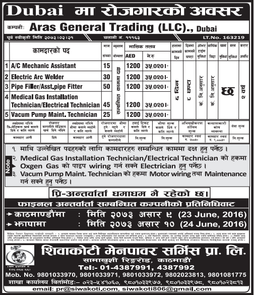 Free Visa, Free Ticket, Jobs For Nepali In Dubai, Salary -Rs.35,000/