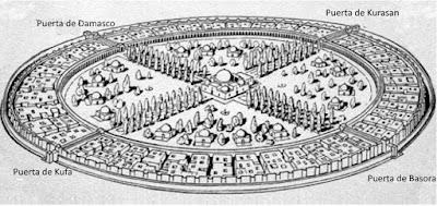 La Ciudad Redonda de Bagdad y sus Cuatro Puertas señalando a cada uno de los puntos cardinales