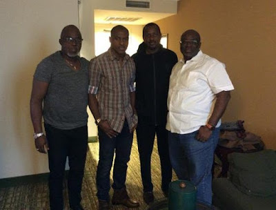 vINCENT eNYEAMA WITH PINNICK AND OTHER MEMBERS OF THE nff AFTER MEETING IN bELGIUM