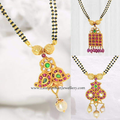 Kundan Pendant Black Beads Collection