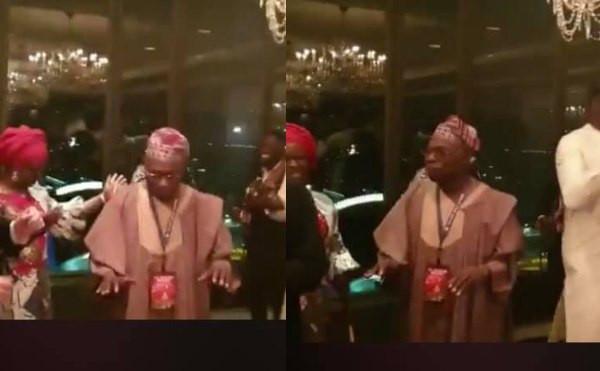 Former President Olusegun Obasanjo Spotted Dancing........He's Got Moves (Video)