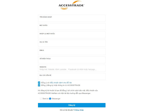 Hướng dẫn đăng ký Accesstrade kiếm tiền affiliate