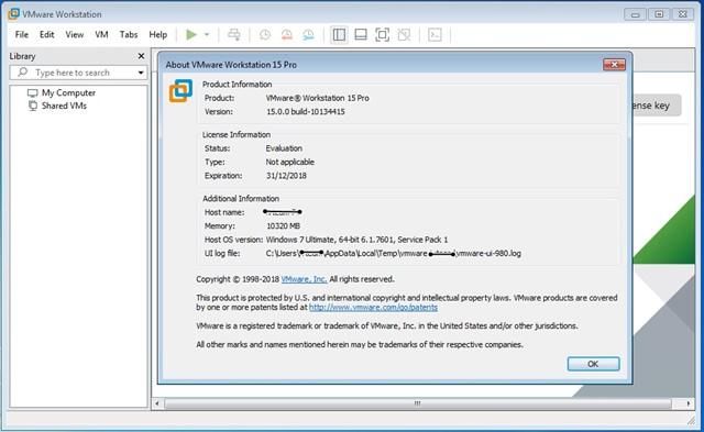 VMware Workstation Versión Pro v15.0.2