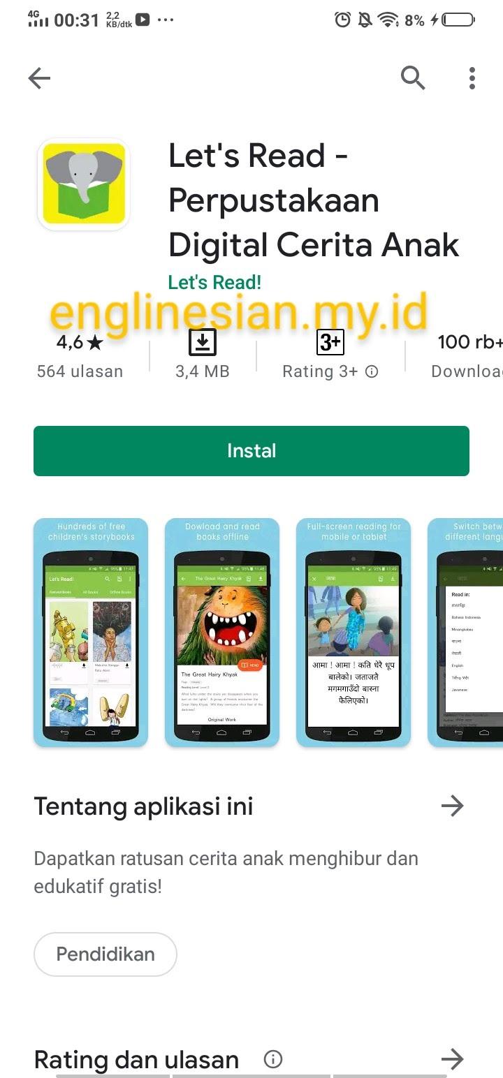 Englinesian: Instalasi Aplikasi Let's Read Indonesia di Google Play Store