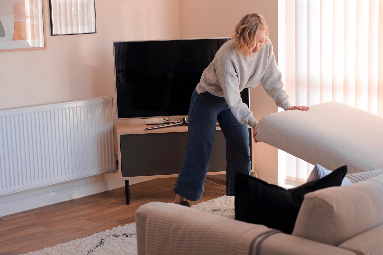 Ikea, Corner, Sofa, Ottoman, Storage, Home, DVD's, TV Stand