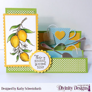 Divinity Designs Stamp Set: Lemon Branch, Paper Collection: Birthday Brights, Custom Dies: Scalloped Rectangles, Rectangles, Scalloped Circle, Circle, Side Step Card, Cups & Mugs