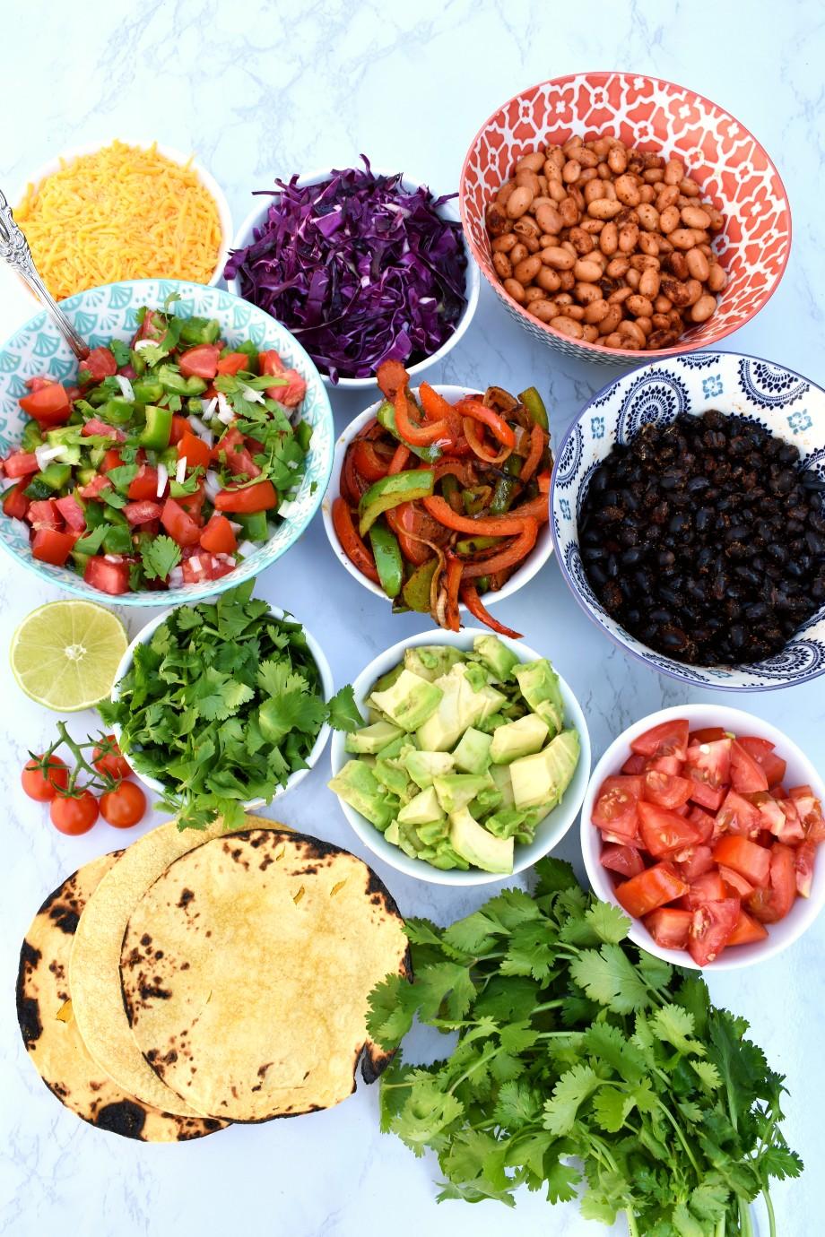 Vegetarian Taco Bar Ingredients