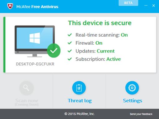 برنامج McAfee Free antivirus لنظام التشغيل Windows 10