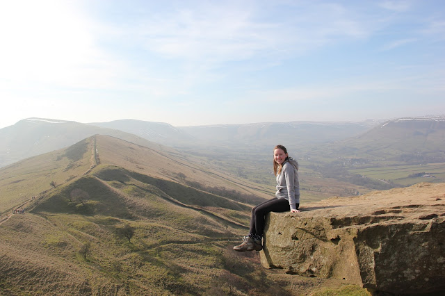 view of mam tor and edale girl hiking