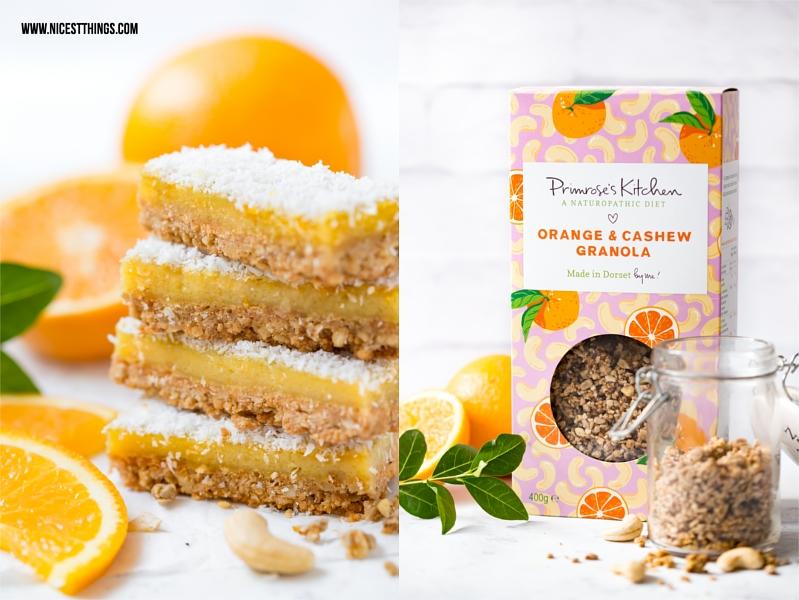 Orangenschnitten mit Primrose's Kitchen Orange Cashew Granola