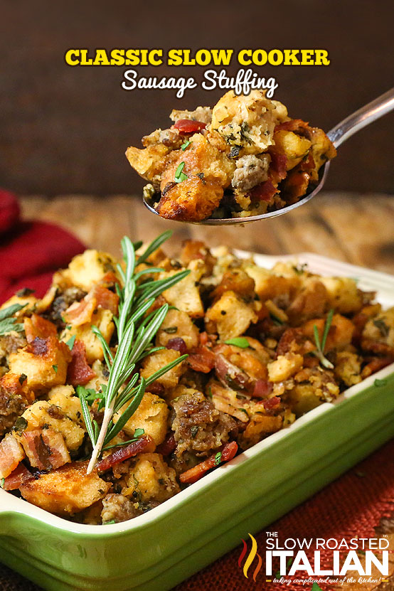 titled image of crockpot stuffing with sausage and bacon