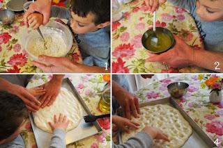 foto preparazione ricetta focaccia genovese da fare a casa con i bambini