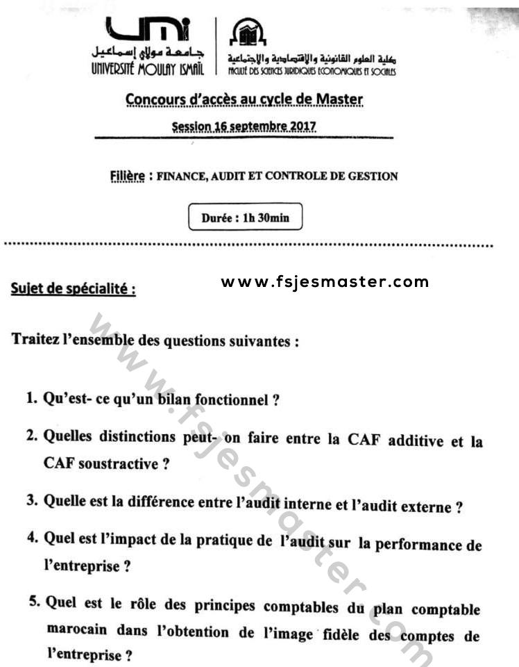 Exemple Concours Master Finance Audit et Contrôle de Gestion 2017-2018 - Fsjes Meknès