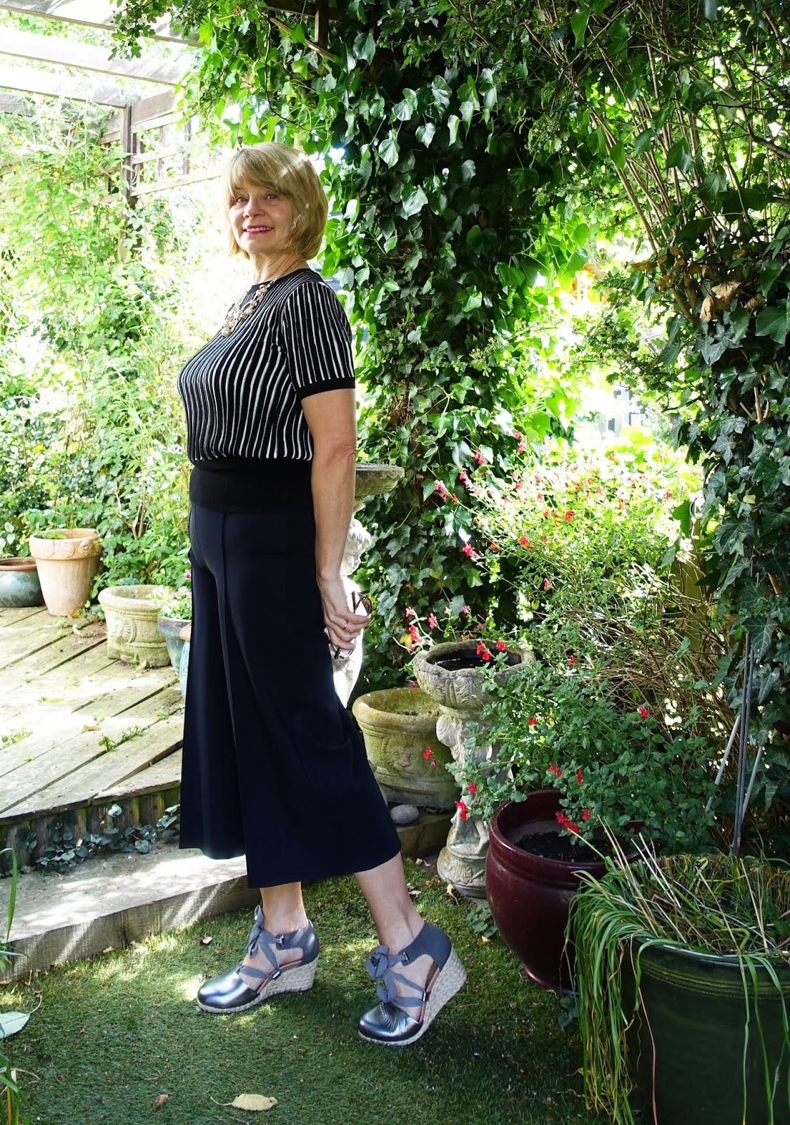 A work wear look featuring Vionic Kaitlyn sandals in pewter grey and black culottes from Hope UK