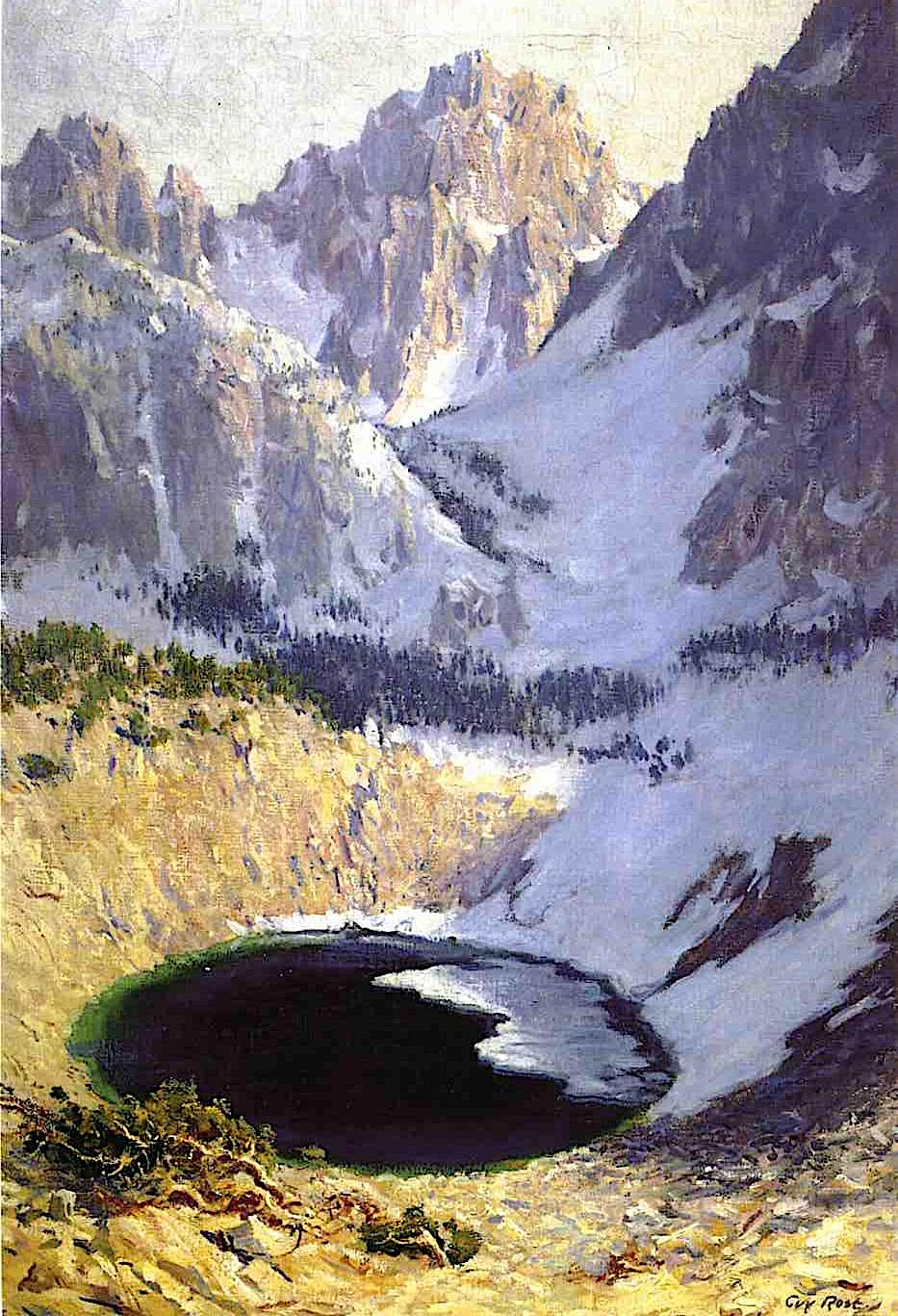 a Guy Rose painting of a crater lake in winter