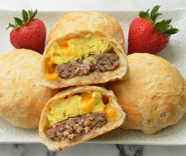 SAUSAGE EGG STUFFED BREAKFAST BISCUITS