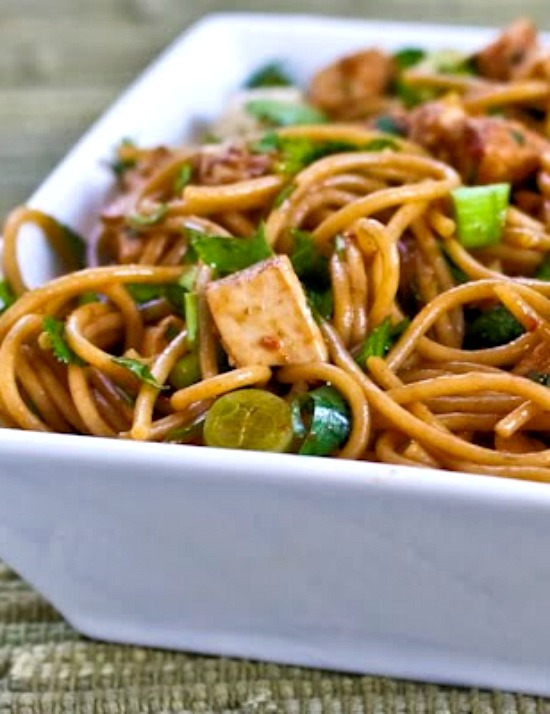Spicy Whole Wheat Sesame Noodles with Chicken, Green Onions, and Cilantro found on KalynsKitchen.com
