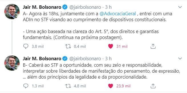 Bolsonaro põe o STF em xeque - o presidente quer o cumprimento dos direitos e garantias fundamentais conforme estão na Constituição