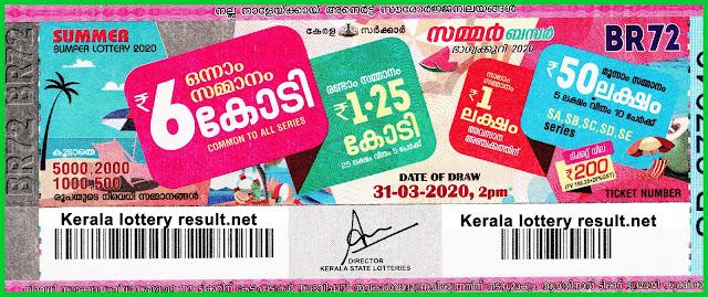 Summer Bumper Lottery 2020, Kerala Next Bumper, BR 72, 31-03-20