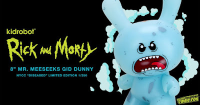 """New York Comic Con 2020 Exclusive Rick and Morty Mr. Meeseeks Glow in the Dark 8"""" Dunny Vinyl Figure by Kidrobot"""