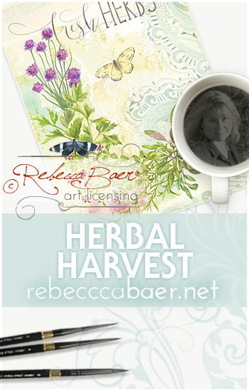 Herbal Harvest Watercolor | Rebecca Baer Art Licensing | RebeccaBaer.net