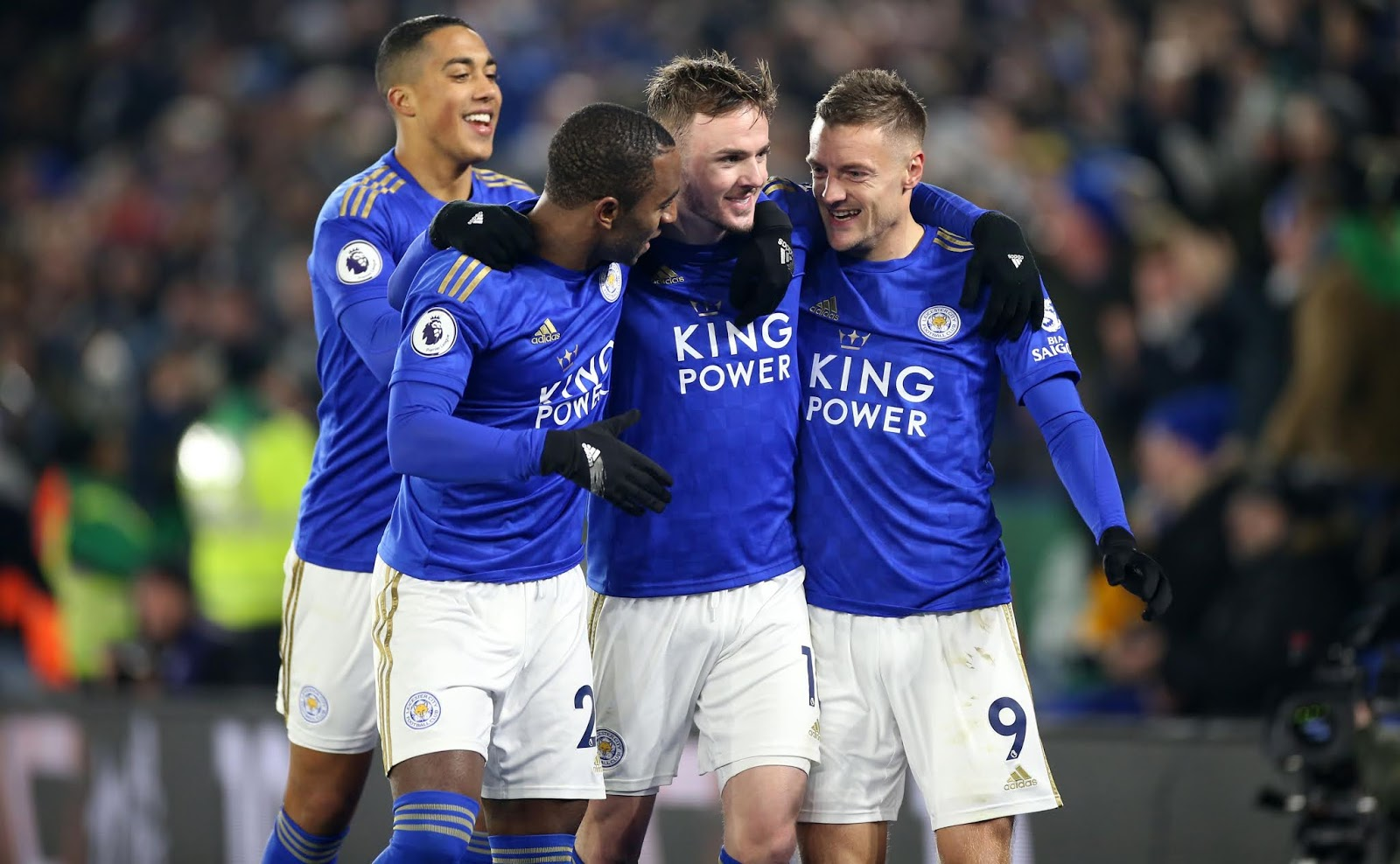 The Foxes' Youri Tielemans, Ricardo Pereira, James Maddison and Jamie Vardy