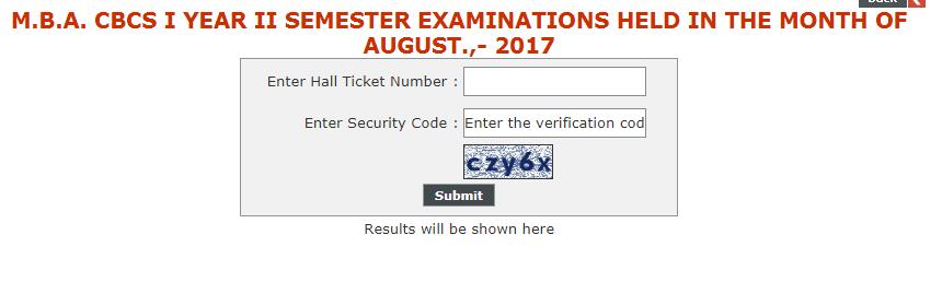 Kakatiya University MBA Exam Results 2017