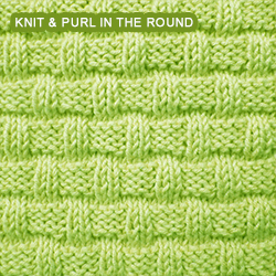 Basketweave - Pattern 3 - knitting in the round