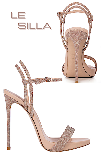 Le Silla Gwen skin nude glitter fabric sandal #lesilla #shoes #brilliantluxury