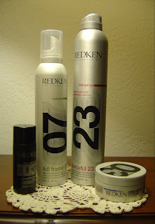 Redken Full Frame 07 Protective Volumizing Mousse, Water Wax 03 Shine Defining Pomade, Powder Grip 03, Forceful 23 Super Strength Finishing Spray.jpeg