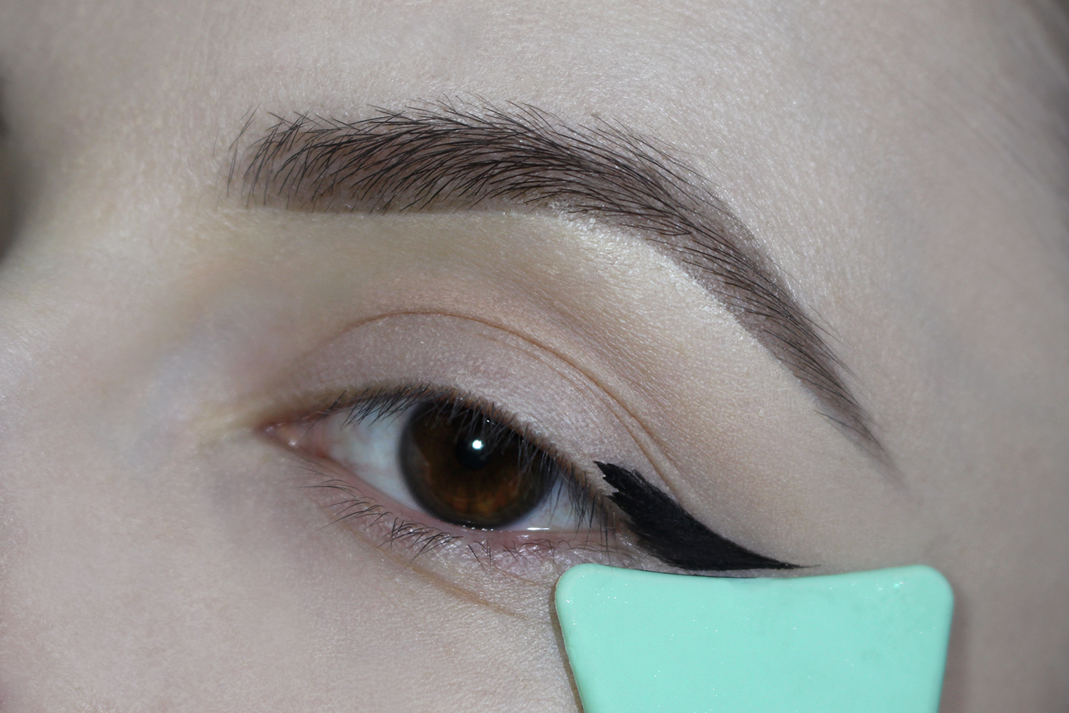 a close-up picture of an eye with a cat eyeliner makeup look