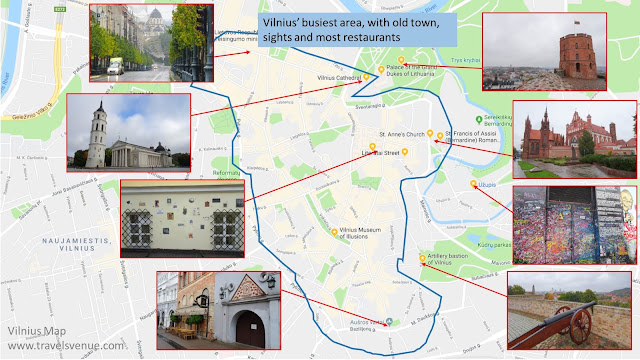 Map of Vilnius, with some of the main things to see.