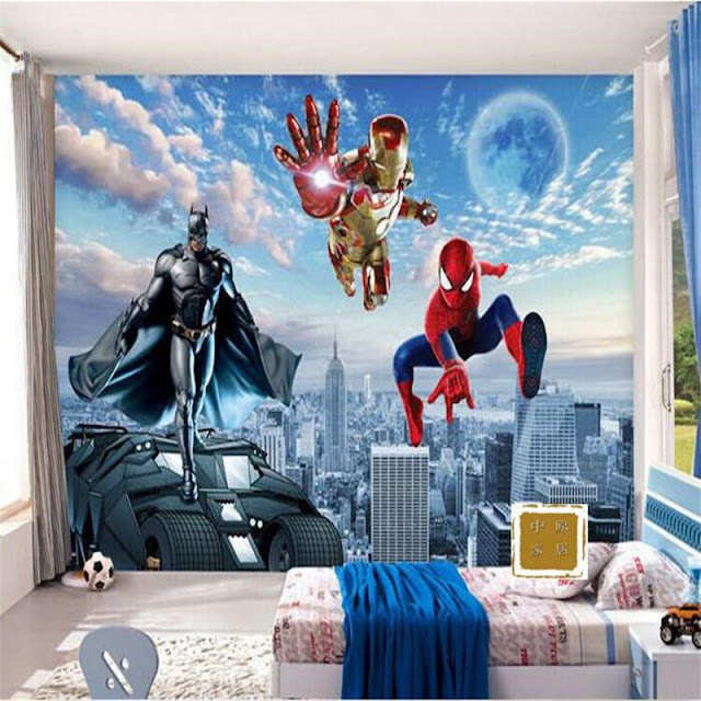 Superhero wall murals 3d wallpaper bedroom mural childrens room 3D comics Photo Wallpaper Kids Boys batman spiderman ironman