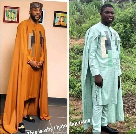 Photos: Man Left Sad After Ordering For Ebuka's Cape Agbada But Got This Instead