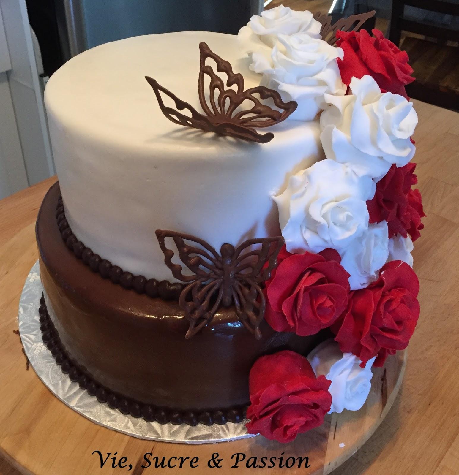 Vie Sucre Passion Gâteau De Mariage Roses Papillons Gâteau De