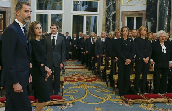 King Felipe, Queen Letizia, King Juan Carlos Queen Sofia, infantas Elena, Cristina, Pilar and Margarita attended the funeral of infanta Alicia