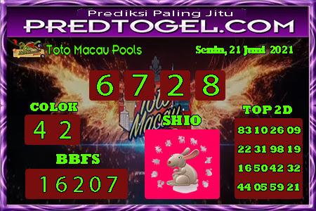 Pred Macau senin 21 juni 2021