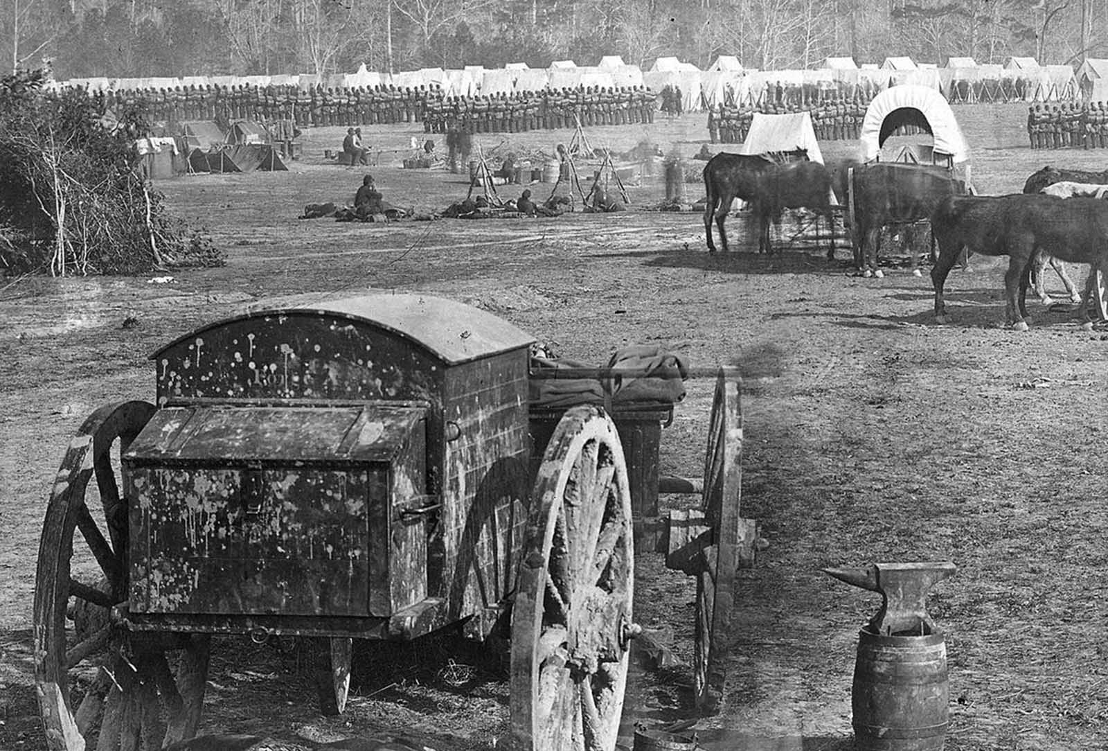 A Federal encampment on the Pamunkey River, Cumberland Landing, Virginia, in May of 1862.