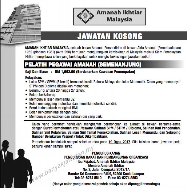 Jawatan Kosong di Amanah Ikhtiar Malaysia (AIM)