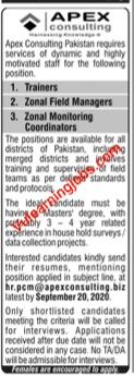 Apex Consulting Jobs 2020 For Trainer, Manager & Coordinator Latest