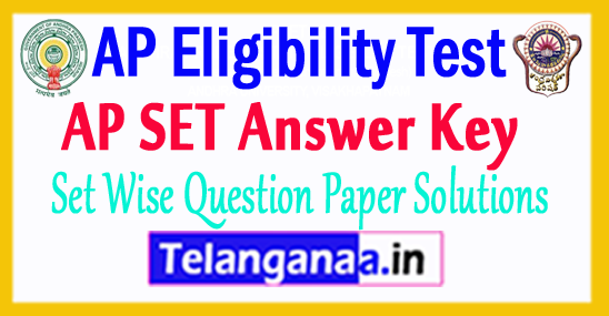 AP SET Answer Key 2018 Set Wise Answer Key