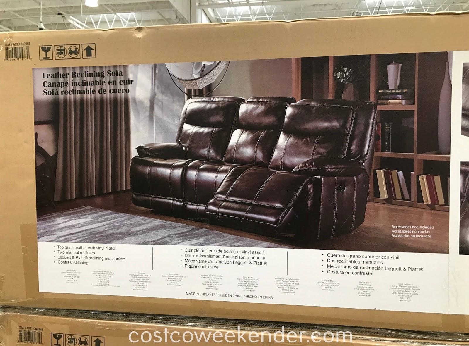 leather reclining sofa costco weekender